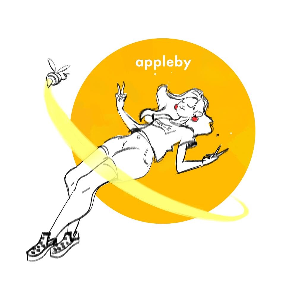 A cartoon Appleby girl peacefully lies down.