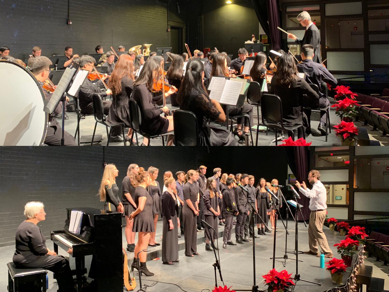 The Webb Schools orchestra and chamber singers at their final rehearsal before their performance. Graphic courtesy of Vivien Xi