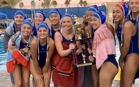 The Vivian Webb water polo team flexes with their third place trophy at Chino High School. Graphic courtesy of Michelle Munguia