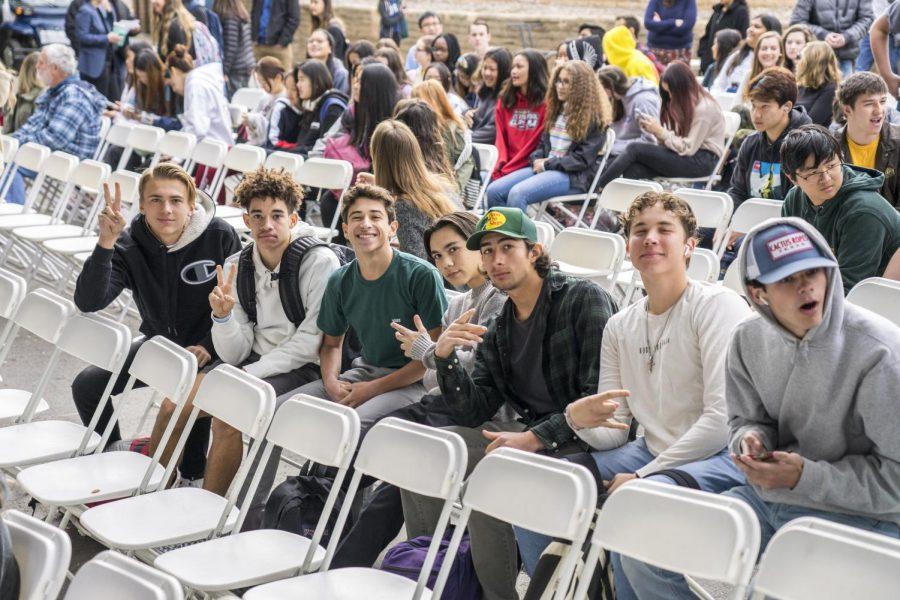 Ethan Caldecott ('21), Justice Thomas ('21), Jake Baiz ('21), Brandon Martin ('21), Indiana Viramontes ('21), and Gabe Bustamonte ('21) wait for MLK assembly to begin.