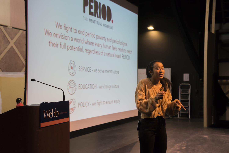 Nadya Okamoto presents to students in the Liu Cheung Theater.