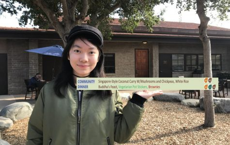 Shuci Zhang ('23) stands with the vegan dinner menu she inspired.