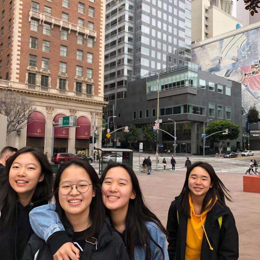 Fiona Jiang ('22), Catherine Li ('22), Brandy Zhang ('22), and Cathy Wang ('22) travel to LA over the weekend.