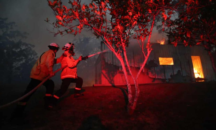 Firefighters try to put out the fire in Australia. Graphic courtesy of The Guardian.