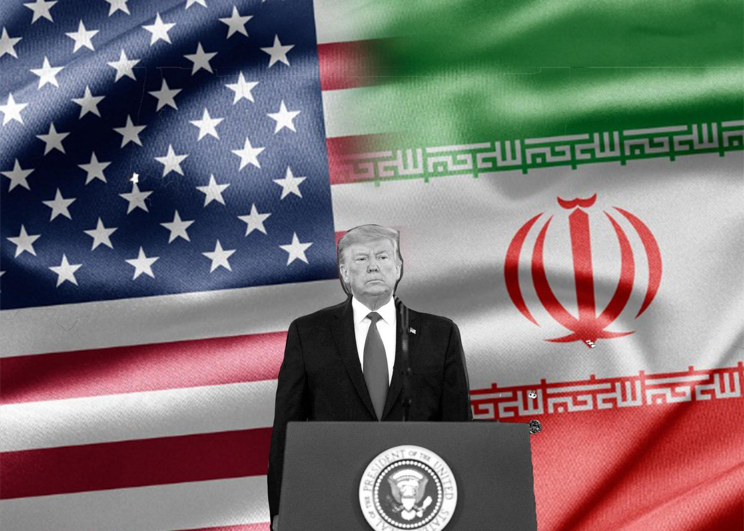 President Trump delivered a statement to the nation on January 8th, announcing what appeared to be a deescalation of tensions between the US and Iran. Graphic courtesy of Keigan McCullagh.