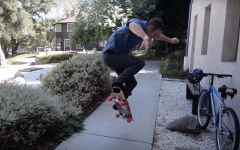 Dr. Riel performs an ollie.