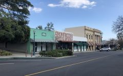 """The normally bustling Claremont Village is empty on Friday March 27, 2020. Stores are closed. Some restaurants are offering take-out and curbside pick-up along with """"bake at home"""" options."""