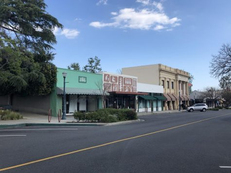 "The normally bustling Claremont Village is empty on Friday March 27, 2020. Stores are closed. Some restaurants are offering take-out and curbside pick-up along with ""bake at home"" options."
