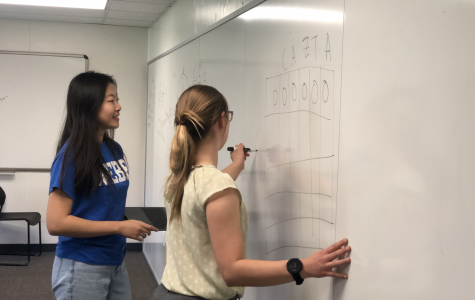 Ms. DeRanek explains to Fiona Jiang ('22) how to visually solve the last component of the most recent AP CSP lab.