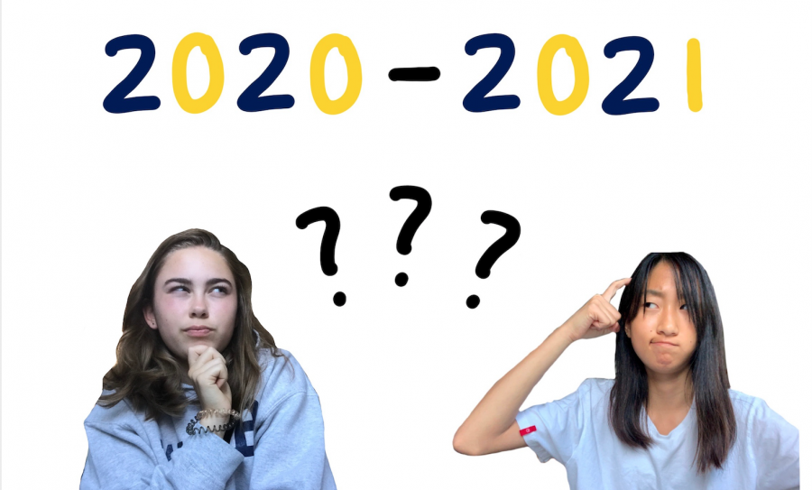 Nichola Monroe ('22) and Sharon Xu ('22) wonder about the next school year. Graphic by: Nichola Monroe