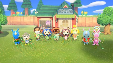 Kara's avatar and her villagers celebrate the Able Sisters' shop. Graphic courtesy of Kara Sun.