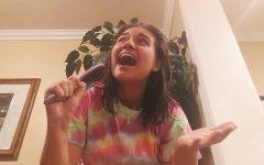 Julia Patronite ('21) practices and rehearses for the Mamma Mia video.