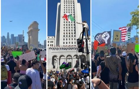 Photos taken at a protest attended by Webb students in Downtown Los Angeles.