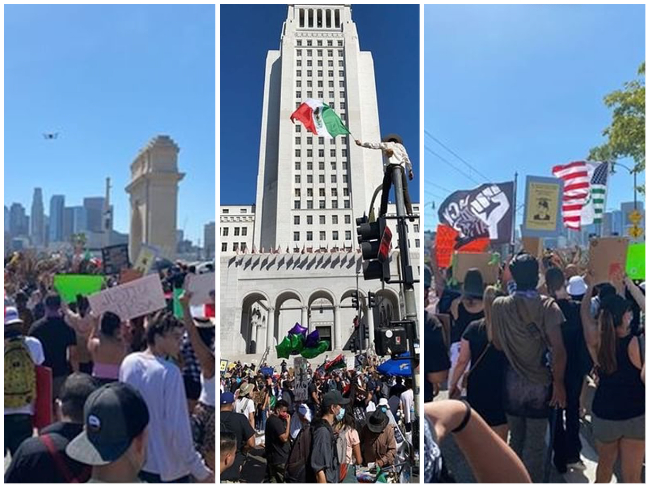 Photos+taken+at+a+protest+attended+by+Webb+students+in+Downtown+Los+Angeles.+
