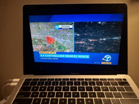 ABC 7 LA covers the earthquake near El Monte. The showing of Jimmy Kimmel Live! was interrupted so local news channels could cover the shaking.