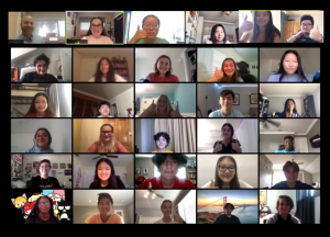 The Webb Canyon Chronicle staff enjoys B block together live on zoom during the first day of school.
