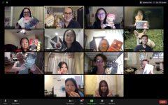 Sofia Centeno ('22), Laura Haushalter ('21), Yvonne Kan ('22), Eleanor Hong ('24), Elsa Li ('24), Jenny Wang ('24), Sunny Yu ('22), Hank Sun ('22), Dr. Mark Dzula, Emily Li ('24), Aiperi Bush ('24), Liz Bowman ('22), Maria Duan ('23), and Dilnar Yu ('24)  smiles as they hold their favorite books during the club's first meeting.