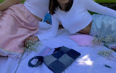 Maya Gutierrez ('21) and Manek Kedia ('21) picnic in their new ZigZag skirts. The blue one is the Manek Skirt, and the pink one is the Strawberry Jam Skirt.