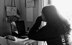 Priscilla Centeno ('24) focuses on completing her homework. Graphic courtesy: Sofia Centeno ('22)