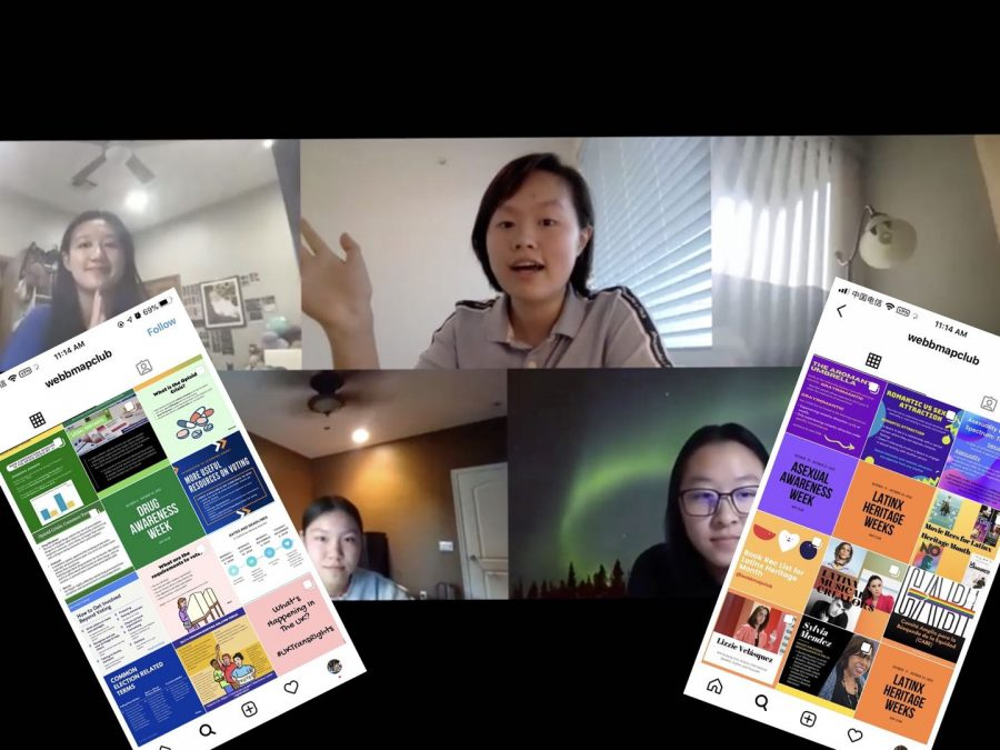 Alice Phung ('21) and Angeline Zhang ('21) host online MAP Club meeting to connect Webb students with resources.