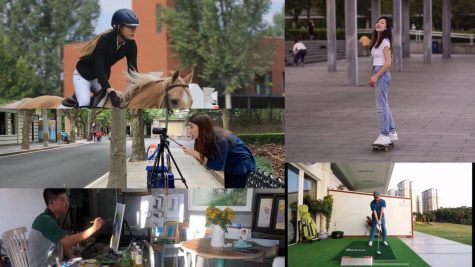 Wendy Chang ('23), Cindy Nie ('23), Hanson Hu ('23), and Jasmine Wan ('23) engage in activities like horse riding, skateboarding, painting, playing golf, and making films in their free time.