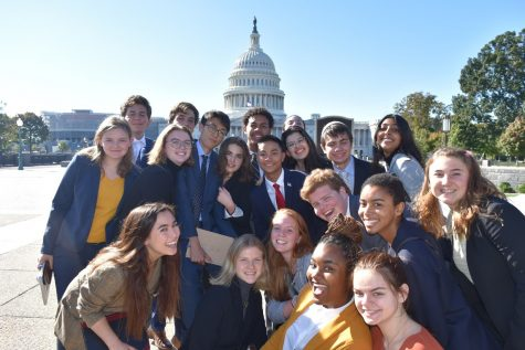 The Fall 2019 semester of the School for Ethics and Global Leadership poses in front of the Capitol Building after a guest speaker session in the office of Senator Cory Booker. Keigan McCullagh ('21), Editor of News for the Webb Canyon Chronicle, attended this semester in her junior year.