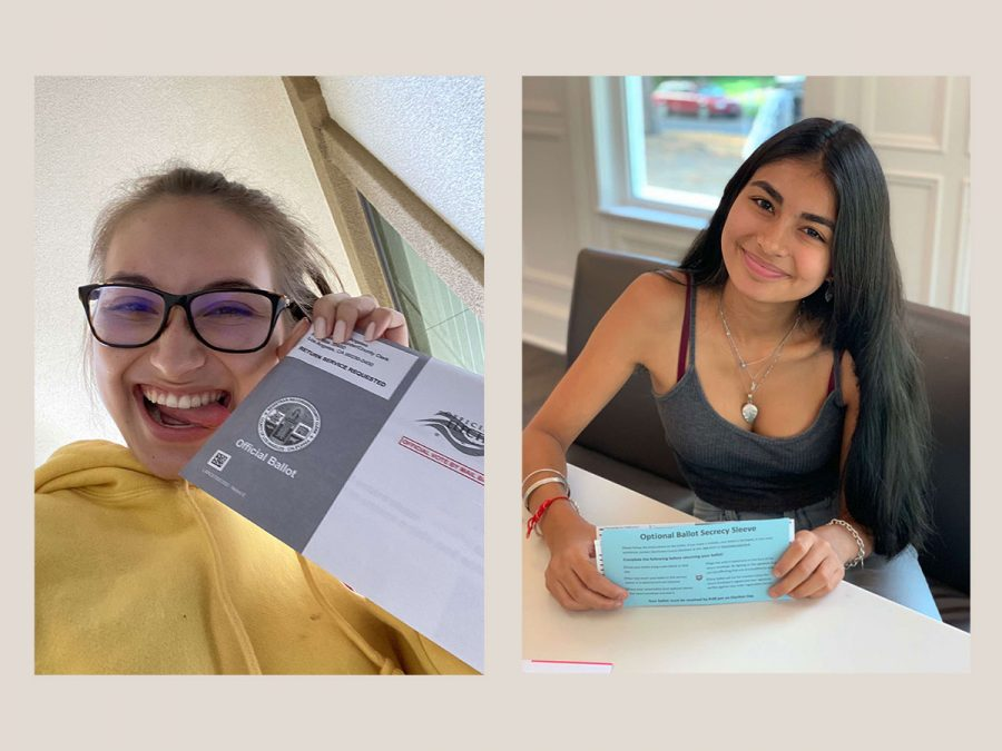 Maya Gutierrez ('21) and Maya Dholakia ('21) pose with their mail-in ballots. A record number of Americans have cast their votes by mail this election season due to the Covid-19 pandemic.