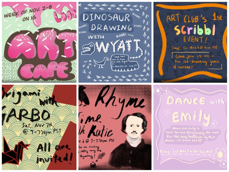 Lucy Liu ('23) designed and drew posters for Art Week events.