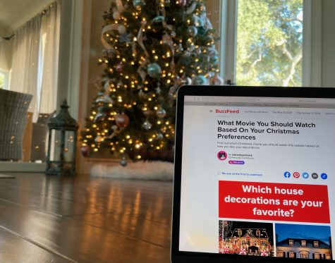 Christmas decorations accompany a fun holiday quiz.