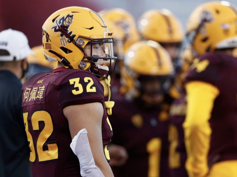 Running+back+Jackson+He+%2332+of+the+Arizona+State+Sun+Devils+gets+ready+for+action+against+the+Arizona+Wildcats.+