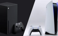 The Xbox Series X (left) vs.The PlayStation 5 (right).