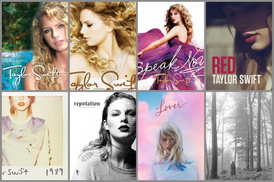A collage of Taylor Swift's studio albums over the past fourteen years. Graphic courtesy: Laura Haushalter ('21).
