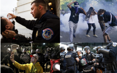 Caption: Photos from the scene show stark contrast between police response to Black Lives Matter protests (on the right) and Capitol Riots (on the left).