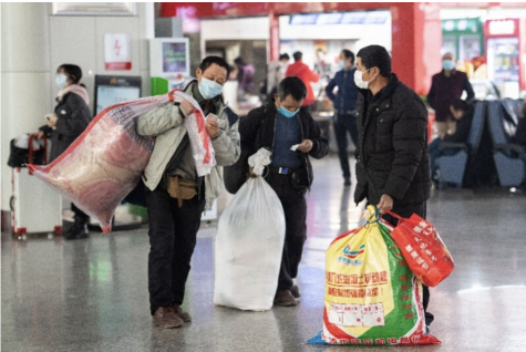Some Chinese workers traveled home for the Lunar New Year despite the pandemic.
