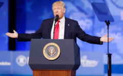 Caption: Trump giving a speech at the Conservative Political Action Conference (CPAC) along with many other Conservative Party activists. Graphic courtesy: Michael Vadon, Image Available under Creative Common License.