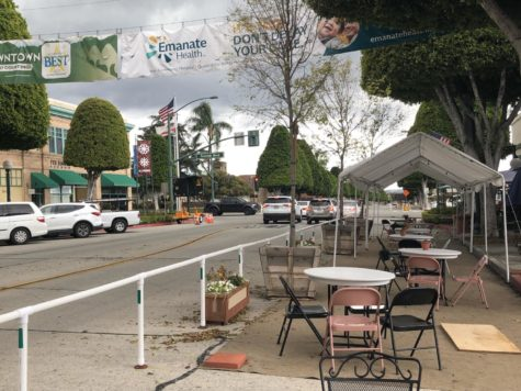 Outdoor dining in Downtown Glendora appears to be ghost town on March 11, 2021.