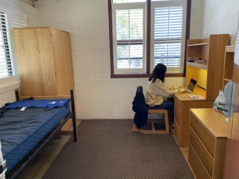 Sharon Xu ('22) takes class in her empty Jameson dorm room two days a week after Webb decided not to resume on-campus boarding next quarter.