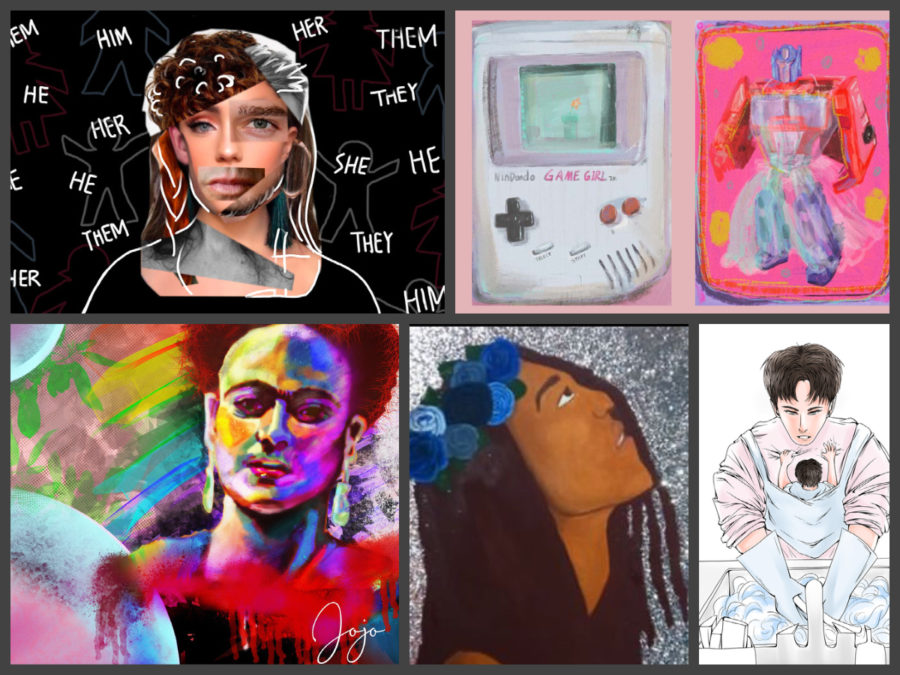 """In honor of Dies Mulieres and Men in the Arena, members of Art Club have created art pieces that speak to the theme of """"Education as a Catalyst for Change"""" in the context of gender, diversity, and inclusivity."""