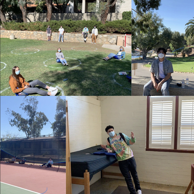 Webb students socialize in drawn spaced out circles. Mikey Chai ('22) sits outside of dorms in his free time, Webb students distanced around the tennis courts, and Dillon Anabi ('22) poses in upper Jameson dorm room.