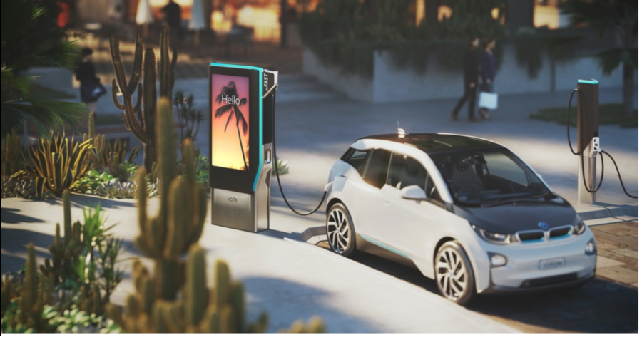 Electric Vehicle using Volta's charger at a retail mall.