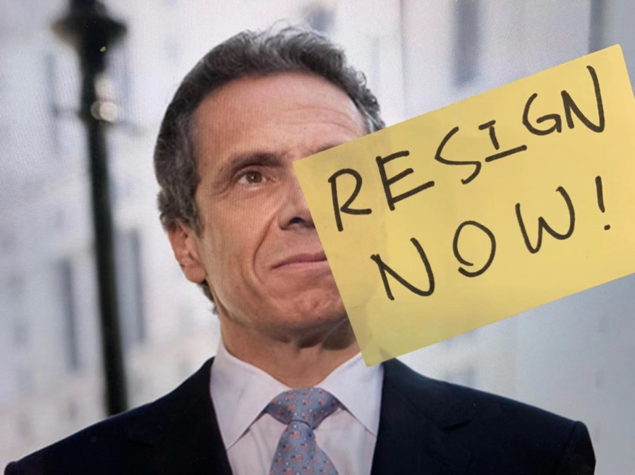 Original photo by Pat Arnow is licensed under CC BY-SA 2.0. Modified by Cathy Wang ('22).   Caption: New York Governor Andrew Cuomo faces multiple allegations and state investigations, along with increasing calls for his impeachment and resignation.