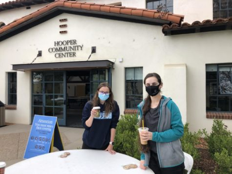 Livia Hughson ('21) and Jacqueline Cordes ('21) hold their drinks from Cafe 1175 outside of Hooper. At this time, all eating and drinking must occur outside of Hooper to follow current health protocols.
